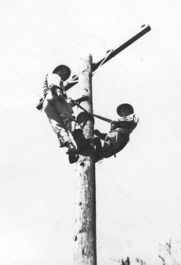Running wire included climbing poles. That's my dad Pete at left